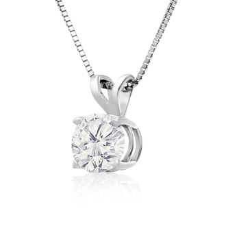 90 Point Colorless Diamond Solitaire Necklace, Almost 1 Carat in 14K White Gold. First Time Offered Special Purchase