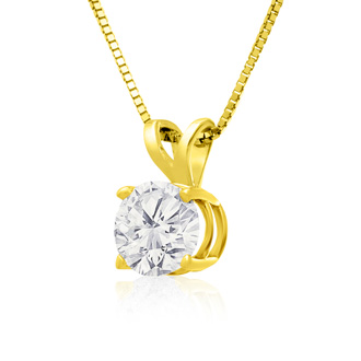 90 Point Colorless Diamond Solitaire Necklace, Almost 1 Carat in 14K Yellow Gold. First Time Offered Special Purchase