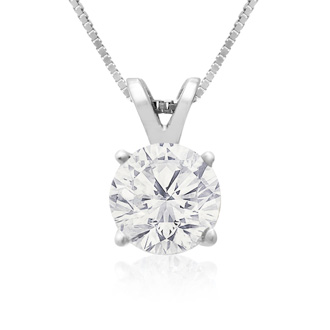 1ct 14k White Gold Diamond Pendant, 4 stars