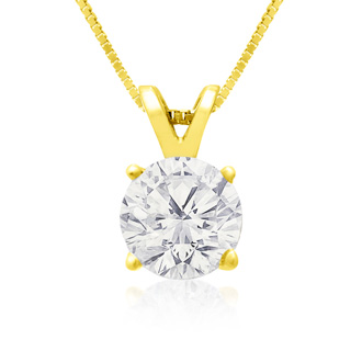 1ct 14k Yellow Gold Diamond Pendant, 4 stars