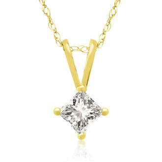 1/4ct 14k Yellow Gold Princess Diamond Pendant, 3 stars
