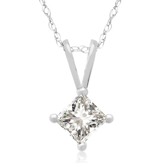 3/8ct Princess Cut Diamond Pendant, 14k White Gold. Closeout Price.
