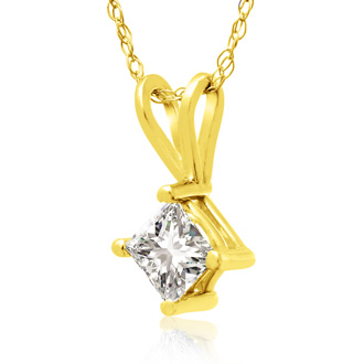 3/8ct 14k Yellow Gold Princess Diamond Pendant