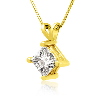 3/4ct 14k Yellow Gold Princess Diamond Pendant