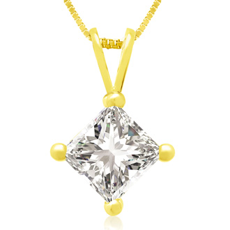 1ct 14k Yellow Gold Princess Diamond Pendant