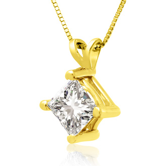 1ct 14k Yellow Gold Princess Diamond Pendant
