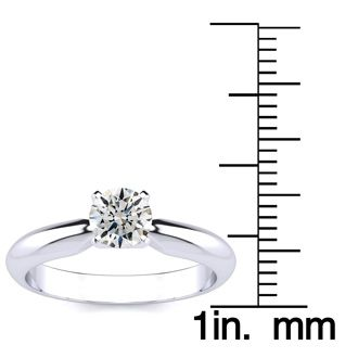 1/2 Carat Round Shape Diamond Solitaire Ring In 14K White Gold