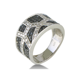.85ct Wide Black and White Diamond Band