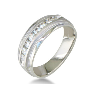 Heavy Mens Wedding Band With 1/2ct Channel Set Diamonds