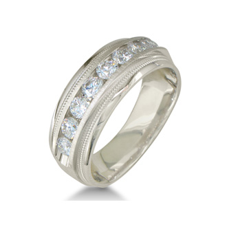 Heavy Mens Wedding Band With 1ct Channel Set Diamonds, 14K White Gold