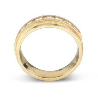 Heavy Mens Wedding Band With 1ct Channel Set Diamonds