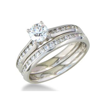 Perfect 1ct Engagement Ring and Wedding Band Set, White Gold