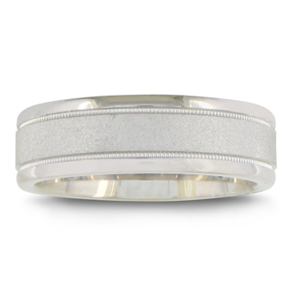 Mens and Womens Sandblast Silver 6.5mm Wedding Band Ring