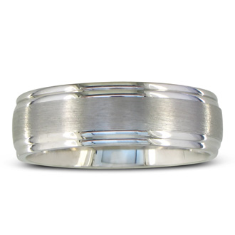 Mens and Womens Brush Finished Silver 6.5mm Wedding Band Ring