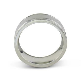 Mens and Womens High Polish and Milgrain Silver Wide 8mm Wedding Band