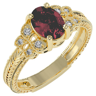 Beautiful 1 1/2ct Ruby and Diamond Ring in 10k Yellow Gold