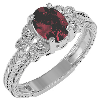 1 1/2 Carat Oval Shape Ruby and Diamond Ring In 10 Karat White Gold