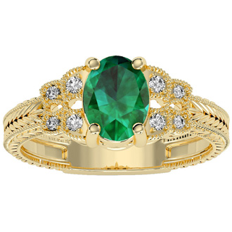 Beautiful 1 1/2ct Emerald and Diamond Ring in 10k Yellow Gold