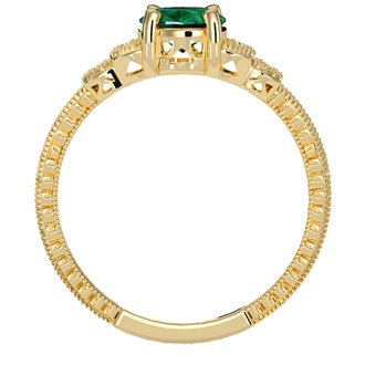 1 1/4 Carat Oval Shape Emerald and Diamond Ring In 10 Karat Yellow Gold