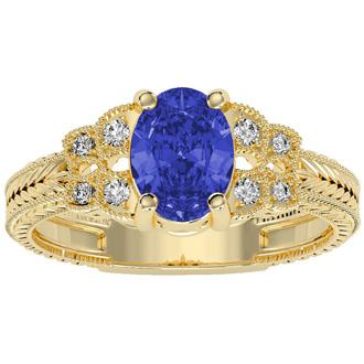 1 1/3 Carat Oval Shape Tanzanite and Diamond Ring In 10 Karat Yellow Gold