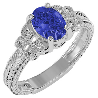 Beautiful 1 1/2ct Tanzanite and Diamond Ring in 10k White Gold