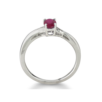 1/2ct Ruby and Diamond Ring in Sterling Silver