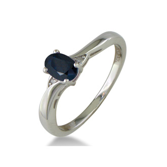1/2ct Sapphire and Diamond Ring in Sterling Silver