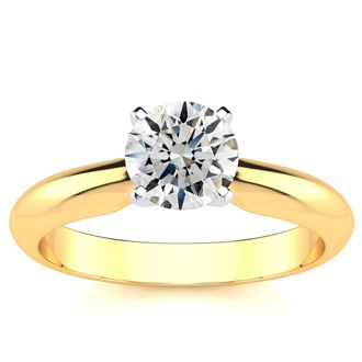 1ct 14k Yellow Gold Diamond Engagement Ring, G/H, SI1/SI2