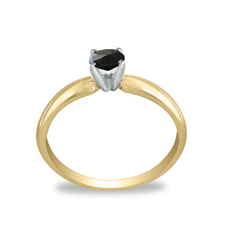 1/4ct Black Diamond Solitaire Ring in 10k Yellow Gold