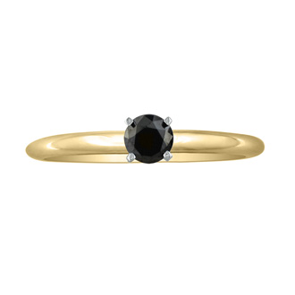 1/3ct Black Diamond Solitaire Ring in 10k Yellow Gold