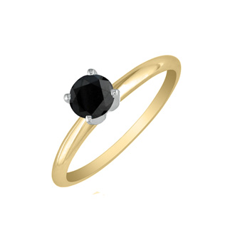 1/2ct Black Diamond Solitaire Ring in 10k Yellow Gold
