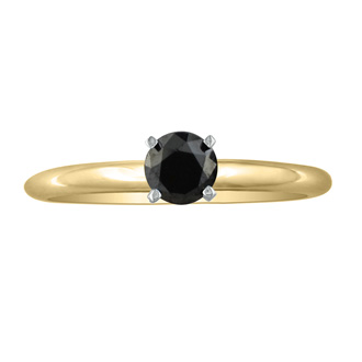 3/4ct Black Diamond Solitaire Ring in 10k Yellow Gold