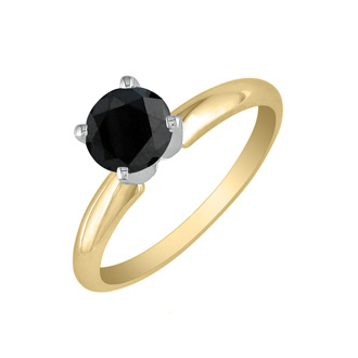 2 Carat Black Diamond Solitaire Ring in 14K Yellow Gold