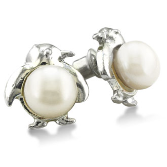 Penguin Shaped Freshwater Pearl Earrings