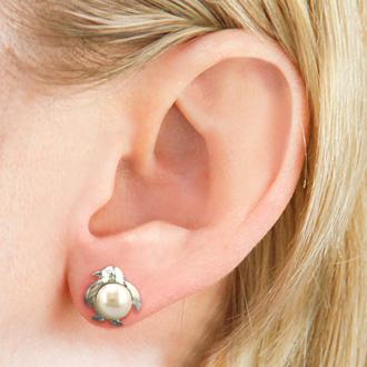 Penguin Shaped Freshwater Pearl Earrings
