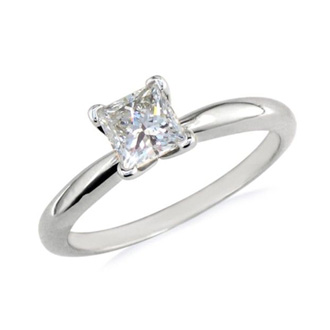 1/4 Carat Princess Diamond Solitaire Engagement Ring In 14 Karat White Gold