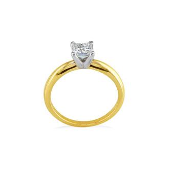 1/4 Carat Princess Diamond Solitaire Engagement Ring in 14 Karat Yellow Gold
