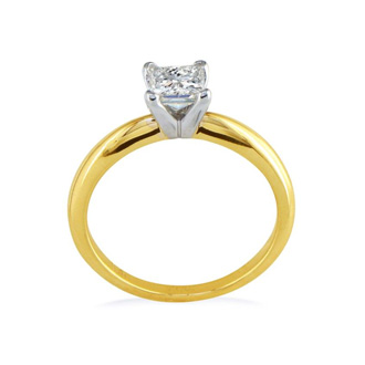 1/2 Carat Princess Diamond Engagement Ring In 14K Two Tone Gold