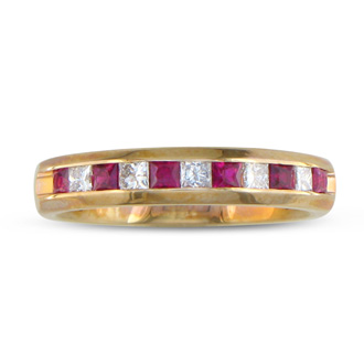 1/2ct Ruby and Diamond Channel Set Band, 14k Yellow Gold