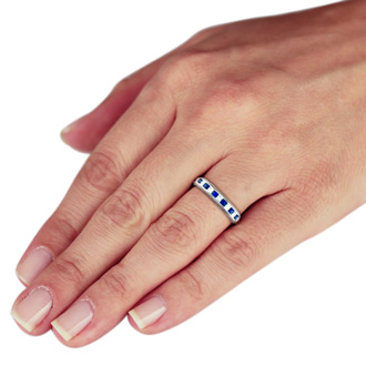 1/2ct Sapphire and Diamond Channel Set Band, 14k White Gold