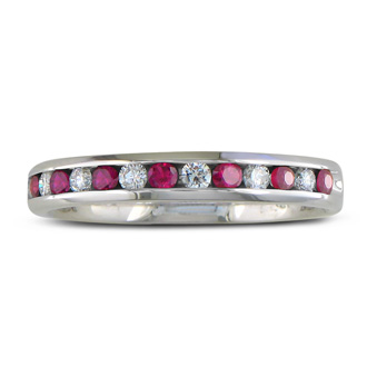 1/4ct Ruby and Diamond Channel Set Band, 14k White Gold