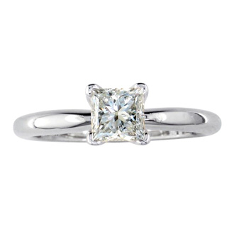 1/2 Carat Princess Shape Diamond Solitaire Ring In 14K White Gold