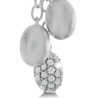 1/5ct Diamond Oval Dangle Earrings in Sterling Silver