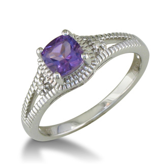 3/4ct Amethyst and Diamond Ring, Sterling Silver
