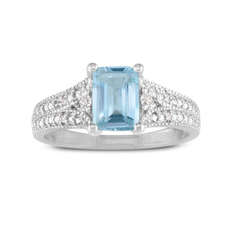 1 1/2ct Aquamarine and Diamond Ring, Sterling Silver