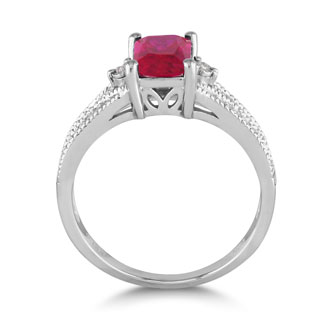 1 1/2ct Created Ruby and Diamond Ring, Sterling Silver