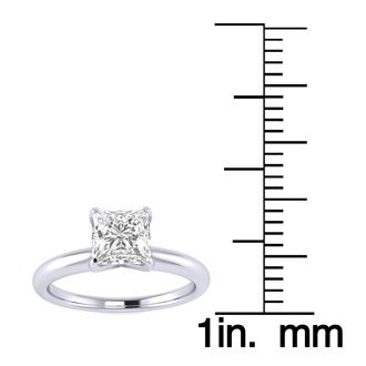 3/4 Carat Princess Shape Diamond Solitaire Ring In 14K White Gold