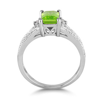1 ½ Carat Peridot and Diamond Ring in Sterling Silver