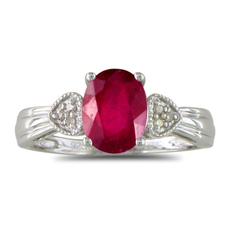 3/4ct Ruby and Diamond Ring in Sterling Silver
