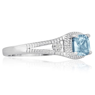 3/4ct Aquamarine and Diamond Ring, Sterling Silver